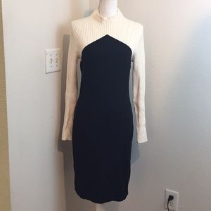 Ann Taylor Black & White Ribbed Sweater Dress